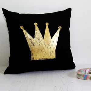 Gold Crown Queen Cushion