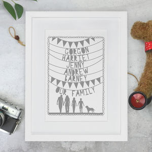 Personalised Family Names And Silhouette Papercut Print - mixed media & collage