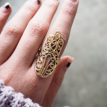 Oversize Solid Brass Hamsa Hand Ring
