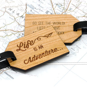 Personalised Wooden Adventure Luggage Tag - travel & luggage