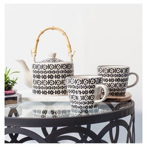 Black And White Tea Pot And Mugs