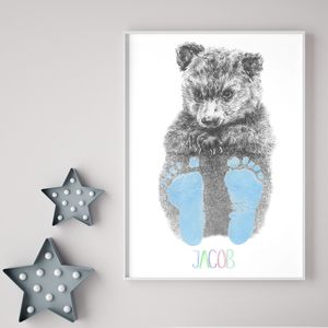 Personalised Baby Bear Footprint Kit - children's pictures & paintings