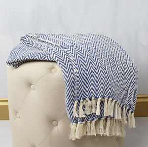 Blue Zig Zag Woven Cotton Throw