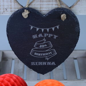 Happy 40th Birthday Personalised Heart Slate