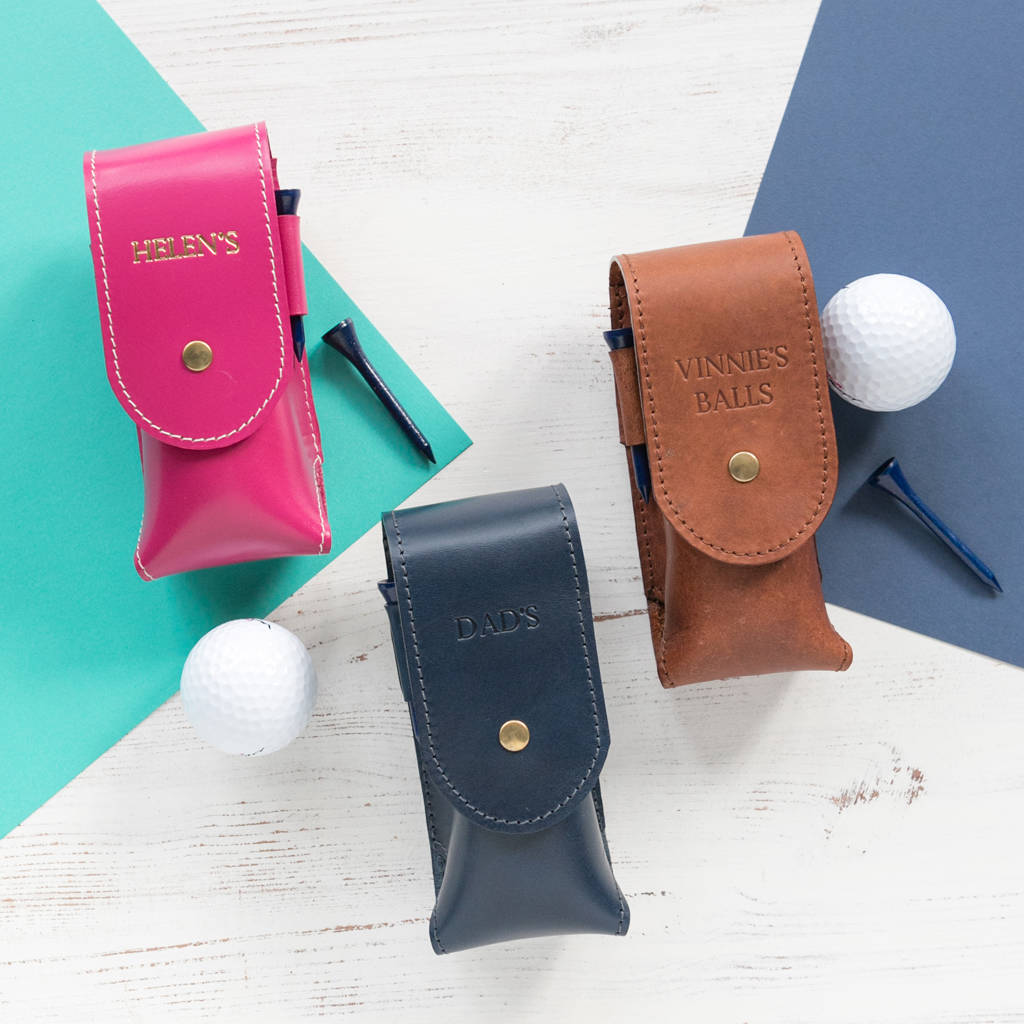 Personalised Leather Golf Ball Holder