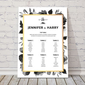 'Black Rose' Table Plan - wedding stationery