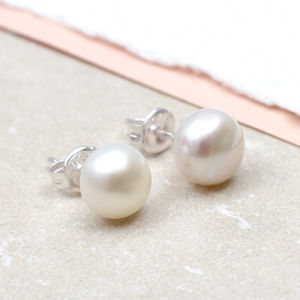 Cultured Pearl And Sterling Silver Stud Earrings - earrings