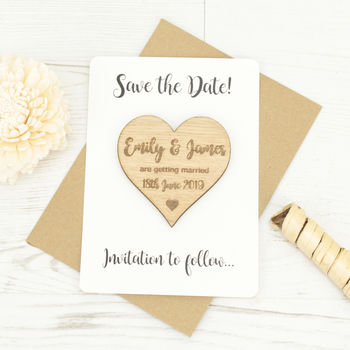 Personalised Save The Date Wooden Heart Magnet