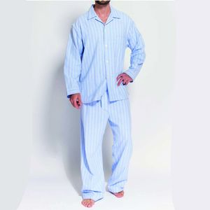 Men's Pyjamas Blue And White Striped Flannel - men's fashion