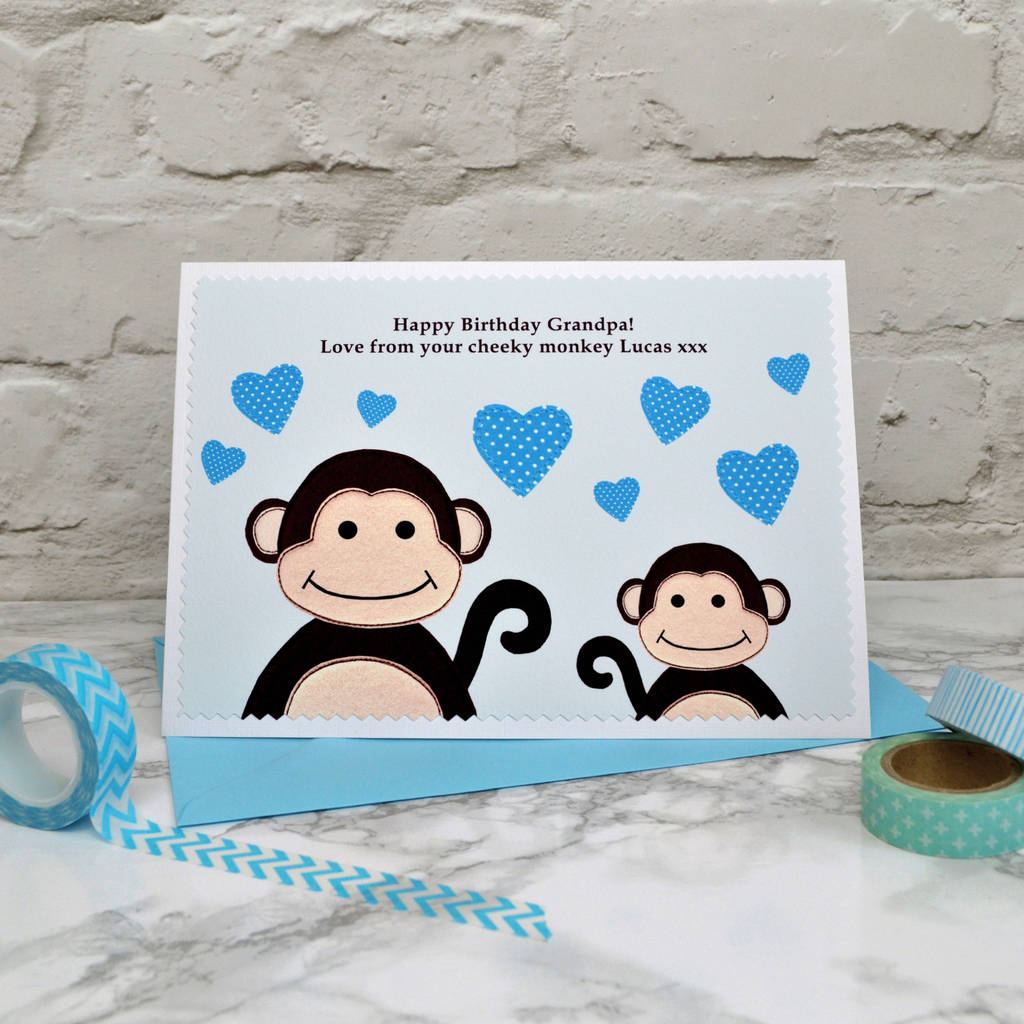 Personalised Little Monkey Birthday Card For Dad Daddy Grandad Etc