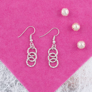 Handcrafted Silver Chainlace Ring Earrings - earrings