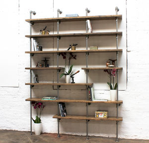 Karen Scaffolding Boards And Polished Steel Shelving - office & study