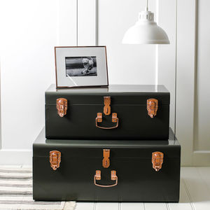 Two Forest Green And Copper Storage Trunks