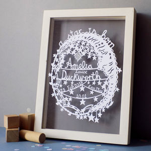Personalised New Baby Starry Moon Paper Cut - mixed media pictures