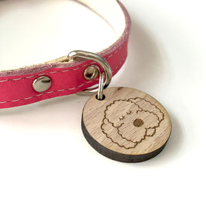 Pet ID Tag Wooden Personalised - dogs