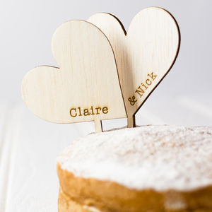 Personalised Wooden Heart Cake Toppers - cake decoration