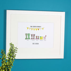 Mother's Day Personalised Welly Boot Print - prints & art
