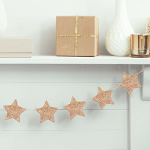 Rose Gold Glitter Wooden Star Bunting Decorations