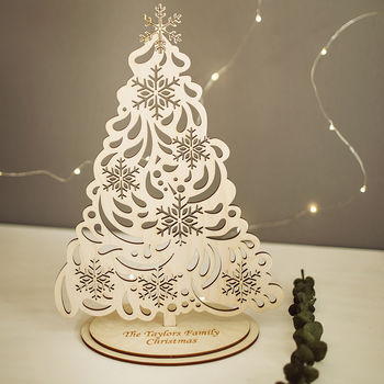 Personalised Christmas Tree With Snowflakes
