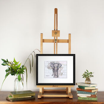 Elephant And Map Of Africa Print