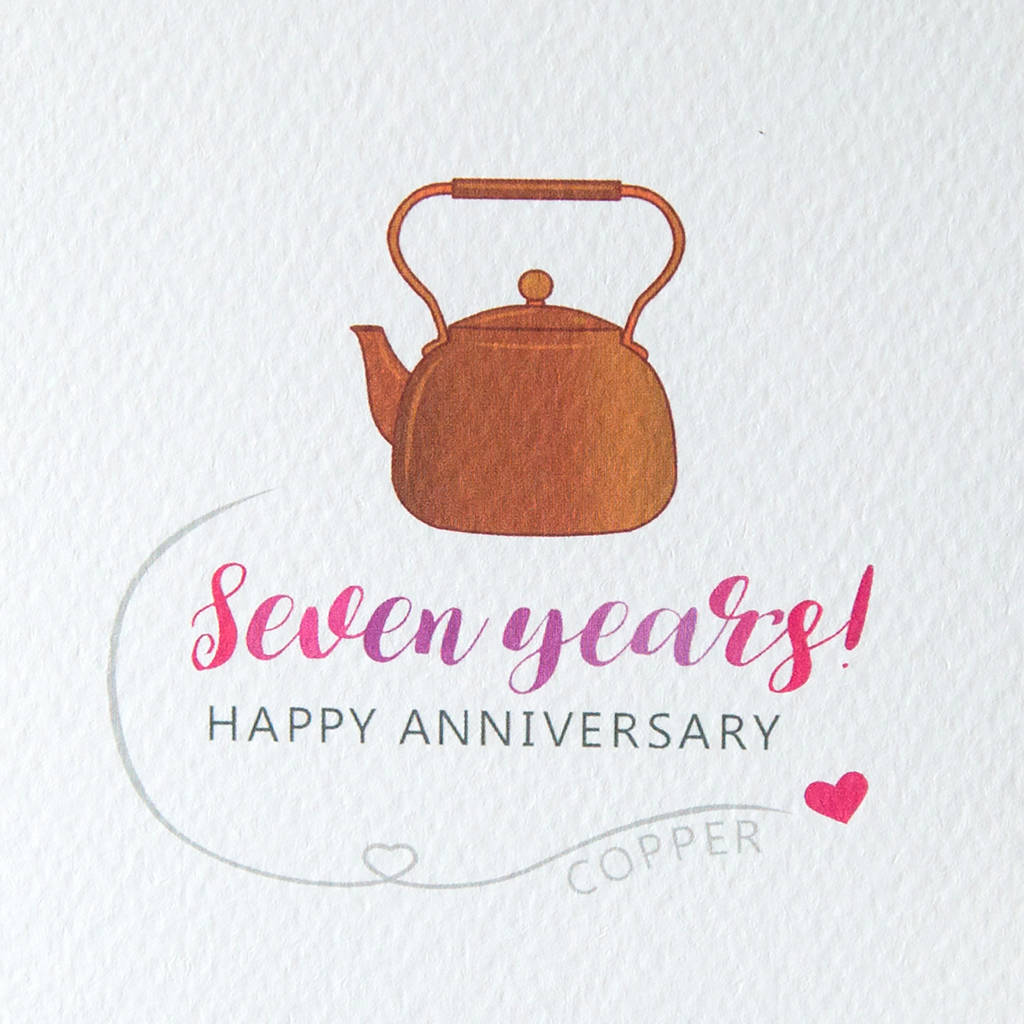 7th Wedding Anniversary Gifts: Seventh Wedding Anniversary Card Copper By Miss Shelly