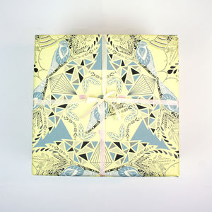 Gift Wrapping Paper Lemon And Grey Birds - cards & wrap
