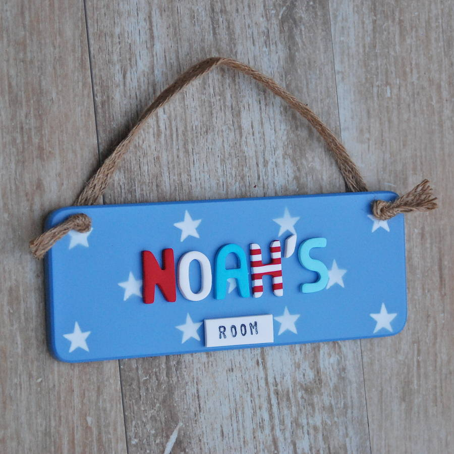 Personalised Door Sign  Blue Stars