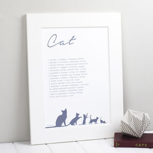 Personalised Cat Print With Cat Poem - pet-lover