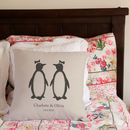 Personalised Penguin Pairs Cushion *Round Or Square
