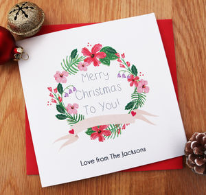 Personalised Christmas Wreath Card For Friends