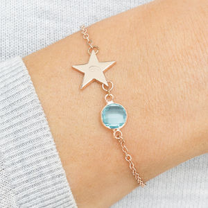 Personalised Initial Star Birthstone Bracelet - children's accessories