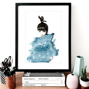 Fashion Illustration Top Knot Sketch Print