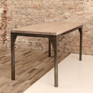 Contemporary Oak Steel Framed Industrial Table - dining tables