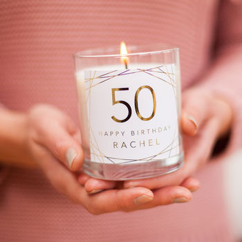 50th Birthday Personalised Candle Gift