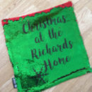 Personalised Sequin Reveal Christmas Family Cushion