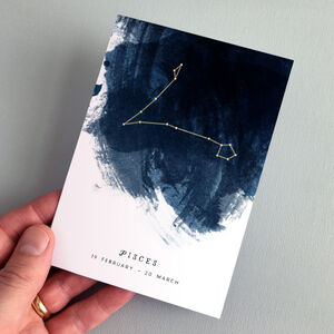 Pisces Constellation Zodiac Star Sign Birthday Card