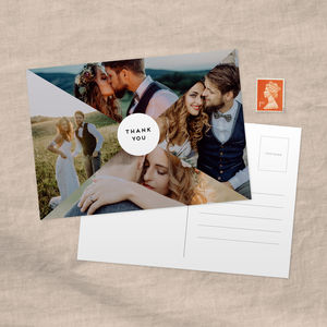 Triangles Personalised Photo Wedding Thank You Postcard