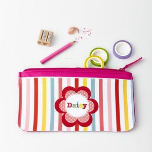 Girls Personalised Flower Pencil Case