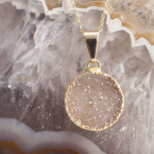 Small Circle Drusy Semi Precious Pendant Necklace