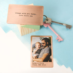 Personalised Solid Copper Wallet Photo Card - tokens & keep sakes