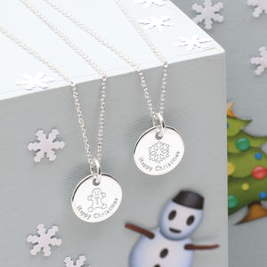Personalised Silver Christmas Emoji Disc Necklace - whatsnew