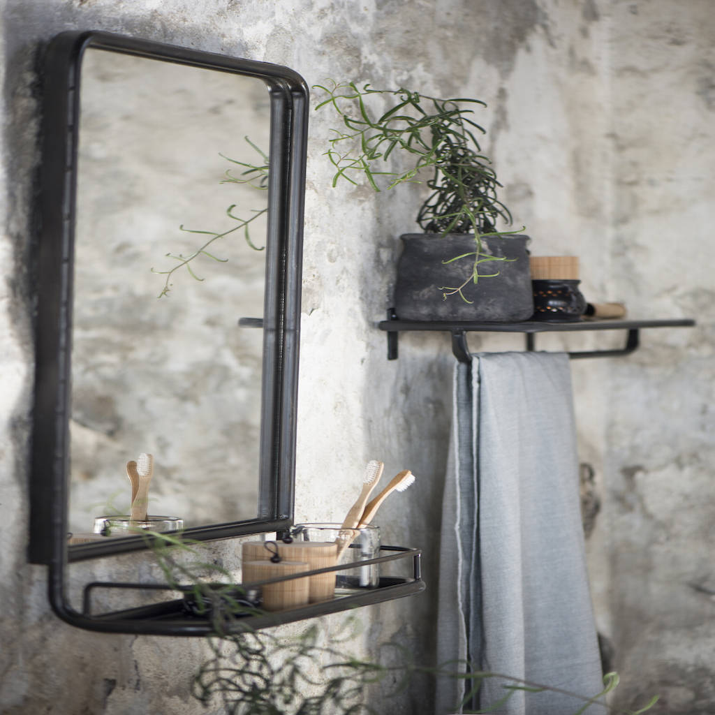 Large Industrial Wall Mirror With Mini Shelf By The Forest Co