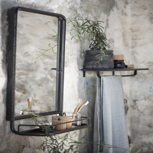 Large Industrial Wall Mirror With Mini Shelf - shelves