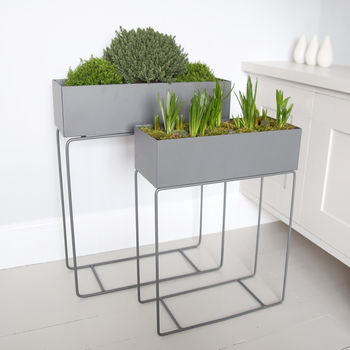 Grey Metal Plant Stand