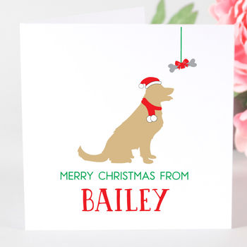 Personalised Golden Retriever Dog Christmas Card