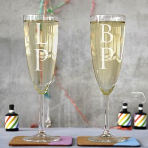 Personalised Pair Of Monogram Champagne Flutes