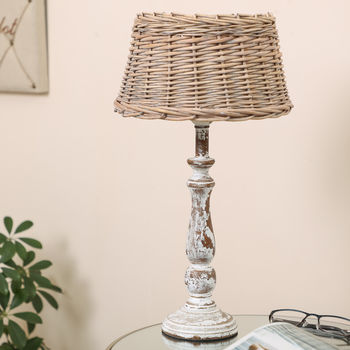 Menton Distressed Table Lamp With Wicker Shade