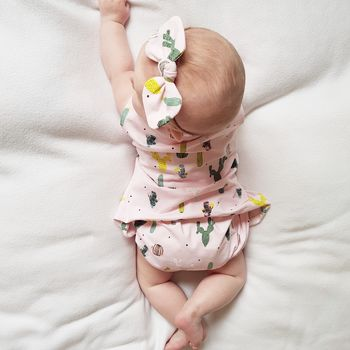 Baby Bloomer, Dress And Bow Set Pink Cactus Print