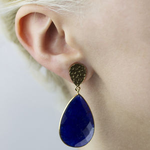 Sapphire Corundum And Golden Nugget Vermeil Earrings
