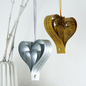 Gold Or Silver Personalised Heart Decoration - valentine's day decorations